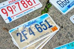 Pojazdu rejestracyjny talerz zlani stany America obrazy royalty free
