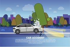Pojazdu Wypadkowy pojęcie Łamający samochód Na drodze Przy nocą Nad miasta tłem Z kopii przestrzenią ilustracji