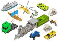 Pojazdy ustawiają isometric płaskiego wektor ilustracja wektor