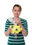 Pojęcie kobieta inwestujący tutaj biednie pieniądze Fotografia Royalty Free
