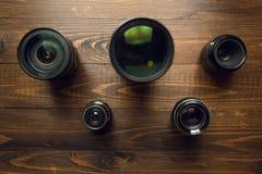 Pojęcie olimpiady Odgórny widok na kamera obiektywach w kształcie Zdjęcia Stock