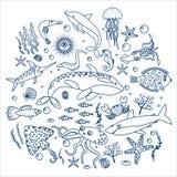 Pojęcie Ustawiający dennych zwierząt ryba Kontur kreskowa Wektorowa ilustracja Zdjęcie Royalty Free