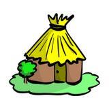 Pojedyncza buda z dachem i drzwi na zielonej gazonu wektoru ilustraci royalty ilustracja