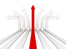 Pojedyncza czerwona strzałkowata lider właściwa wskazówka naprzód Obrazy Stock