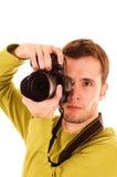 pojedyncze bieli młody fotograf Obraz Stock