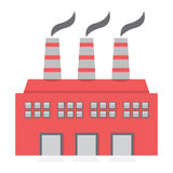 Pojedynczego Fabrycznego budynku Płaski projekt Zdjęcia Stock