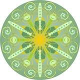 Pojedynczy żółtej zieleni mandala Fotografia Stock