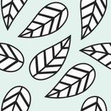 Pojedynczy abstrakcjonistyczny czarny i biały liścia wzór Zdjęcie Stock