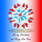 Pojedynczy błękitni biali czerwoni boże narodzenia grają główna rolę, na tle z kolorami inspirującymi francuz flaga z powitaniami zdjęcie royalty free