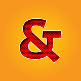 Pojedynczy charakter & ampersand Szyldowa chrzcielnica w pomarańcze i Żółtym koloru abecadle Obraz Royalty Free