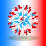 Pojedynczy czerwoni biali błękitni boże narodzenia grają główna rolę z cieniem na dnie, na tle z kolorami inspirującymi francuz f obraz stock