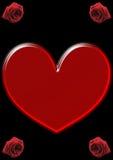 Pojedynczy, duży czerwony serce, i cztery czerwonej róży Zdjęcie Royalty Free
