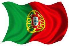 pojedynczy flagę Portugal Obraz Royalty Free