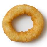 Pojedynczy głęboki smażący cebuli lub calamari pierścionek od above Zdjęcia Stock