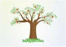 Pojedynczy lata drzewo z zieleń liśćmi i czerwoną owoc, wektor, horyzontalny ilustracji