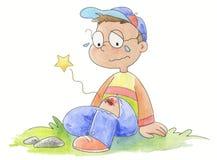 pojedynczy mały chłopiec płaczu royalty ilustracja