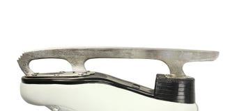 Pojedynczy metalu ostrze postaci łyżwy, kobieta biały rzemienny but, boczny widok na odosobnionym białym tle, zdjęcia stock