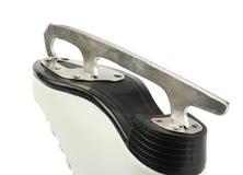 Pojedynczy metalu ostrze postaci łyżwy, kobieta biały rzemienny but, tylni widok na odosobnionym białym tle, zdjęcia stock