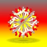 Pojedynczy popielaci czerwoni żółci boże narodzenia grają główna rolę z cieniem na dnie, na tle z kolorami inspirującymi niemiec  Obraz Stock