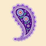 Pojedynczy purpurowy Paisley, dekorujący z kwiatami inside zdjęcie royalty free