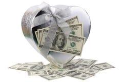 Pojedynczy srebny kierowy kształta prezenta pudełko i dolary Zdjęcia Royalty Free