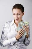 pojedynczy tła pieniądze na białą kobietą Obraz Royalty Free
