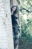 pojedynczy wojskowy dziewczyna white Obraz Royalty Free
