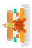 pojemnik zestaw kosmetycznym apricot Zdjęcia Royalty Free