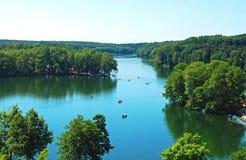 Pojezierze Lubuskie lake county in Poland. Aerial view on Łagowskie lake in Łagów, Poland Royalty Free Stock Photos