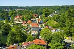 Pojezierze Lubuskie lake county in Poland. Aerial view on village Łagów in Pojezierze Lubuskie resort in Poland Royalty Free Stock Photos