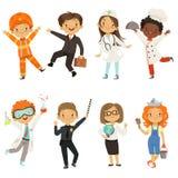 Pojkar för unga ungar och flickor av olika yrken stock illustrationer