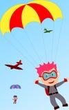 pojkar hoppa fallskärm royaltyfri illustrationer