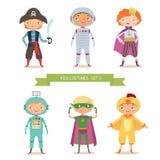 Pojkar i olika dräkter för parti eller ferie vektor illustrationer