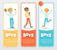 Pojkar i olika lägen, pojkebaner för advertizingbroschyren, befordrings- broschyraffisch, presentationslägenhet stock illustrationer
