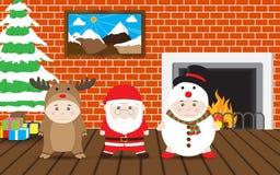 Pojkar i renen, Santa Claus, snögubbedräkt, vektorjulhus Arkivfoton