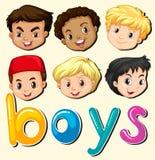 Pojkar med den lyckliga framsidan Royaltyfri Fotografi