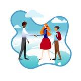 Pojkar och flicka som till varandra introducerar v?nner stock illustrationer
