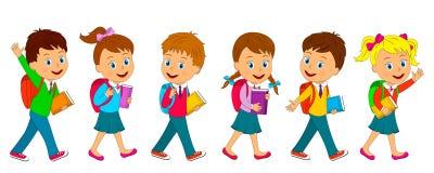 Pojkar och flickan går till skolan Royaltyfria Foton