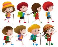 Pojkar och flickor med att gå pinnen stock illustrationer