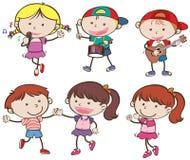 Pojkar och flickor musiker och dans stock illustrationer