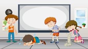 Pojkar och flickor som är sjuka i klassrum vektor illustrationer
