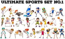 Pojkar och flickor som gör olika sportar Royaltyfria Bilder