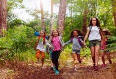 Pojkar och flickor som tillsammans kör i skogen arkivbild