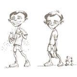 pojkar skissar arkivfoto