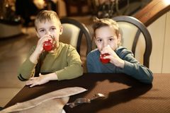 Pojkar som dricker fruktsaft arkivbild