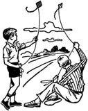 Pojkar som flyger drakar Arkivfoton