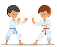 Pojkar som konkurrerar i karate vektor illustrationer