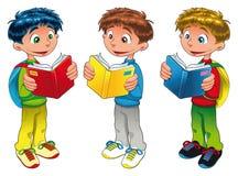 pojkar som läser tre Royaltyfri Fotografi