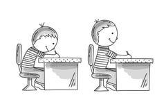 Pojkar som sitter på dålig och korrekt pusturen den skrivbord, stock illustrationer