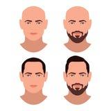 Pojkar vänder mot med olik det hårstil och skägget Brunettmän Uppsättning av avatars stock illustrationer